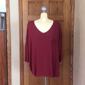 Faded Glory Red & Silver Striped Blouse